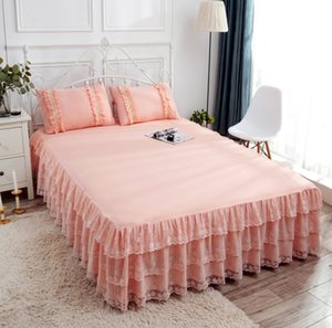 Bed Skirt 3pcs Set European Romance Lace skirt Soft Brushed Fabric spread Princess King Queen Size 1pc +2pccs Pillowcase SYN9