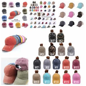 Ponytail Hat 65 Styles Washed Distressed Messy Buns Ponycaps Baseball Cap Leopard Sunflower Dad Trucker Mesh hat Outdoor Sport Adjustable FHD03