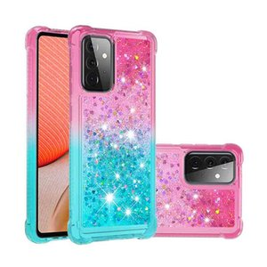 Glitter Liquid Quicksand Phone Cases for Samsung Galaxy A72 5G Bling Sparkle Flowing Shiny Girls Protective Cellphone Covers