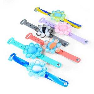 Halloween Flower Luminous Push Poppers Bubbles Bracelet Press Finger Toys Bracelet Puzzle Press Stress Wristband Sensory Tie-dyed Snap Ring G95YK0X