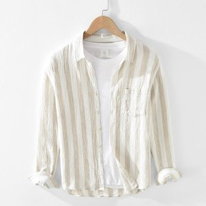 Männer Lässige Hemden 100% Leinen Langarm Streifen Trendy Männer Atmungsaktives Hemd Chemise Camisa Tops Herren Kleidung