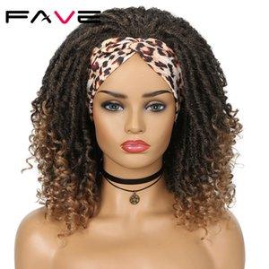 Dreadlock Goddess Faux Locs Curly Synthetic Wig Braids Crochet Twist Ombre Brown For Black Women Hair Heat Resistant Fiberfactory direct