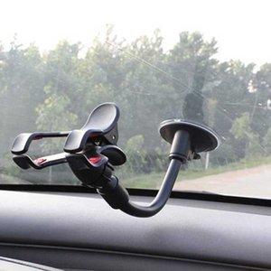 Soporte de automóvil de tela de célula de tablero de instrumentos de parabrisas de montaje largo de montaje de coche con ventosa fuerte y clip de doble vínculo V para teléfonos celulares de iPhone