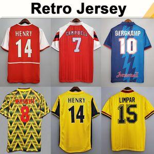 02 05 Henry Bergkamp V. Persie Mens Retro Soccer Jerseys 94 97 Vieira Merson Adams 홈 멀리 3 축구 셔츠 짧은 긴 소매 유니폼