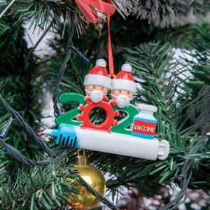 DHL 2021 рождественские украшения карантин украшения семьи из 1-9 голов DIY дерево кулон аксессуары с веревкой в наличии