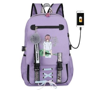 Student Cute School Bag Book Girl Kawaii Backpack Women Travel Anti-theft USB Charging Female Laptop Bags