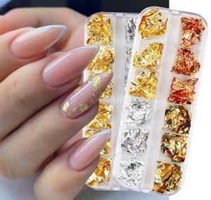 Nail Glitter Sparkly Gold Silver Aluminum Foils Sticker Nails Sequins Irregular Set Flakes Gel Polish DIY Manicures Tips