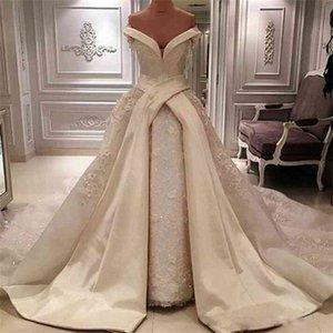 Vintage von der Schulter Overkirt Brautkleider 2020 Sexy lange Satin Chapel Zug Spitze Glänzende Pailletten Brautkleider Arabische Hochzeit Vestidos