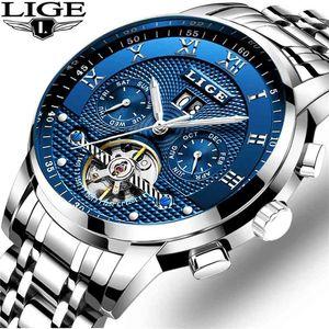 Lige Mens Часы Мода Лучшие Бренд Роскошный Бизнес Автоматические механические Часы Мужчины Повседневная Водонепроницаемые Часы Relogio Masculino + Box 210329