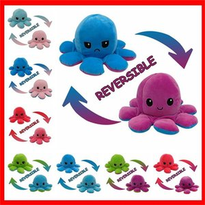 23 Styles Reversible Flip Octopus Stuffed Dolls Soft Double-sided Expression Plush Toy Baby Kids Gift Doll New Year Fast Shipping