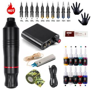 Complete Tattoo Machine Set Rotary Gun Pen Power Supply Cartridges Needles Permanent Makeup Accessories