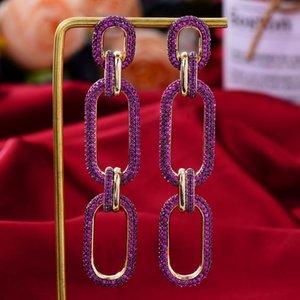 Dangle & Chandelier KellyBola Jewelry 2021 Ladies Luxury And Gorgeous Full Cubic Zircon Earrings Fashion CZ Design Link Hoop