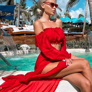 Sexy Beach Dresses Swimwear High Waisted Cover Up Solid Swimsuit Off Shoulder Top Long Sleeve Bathing Suit Women Tunic Women's
