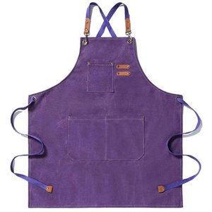 Aprons Canvas Kitchen Apron For Men Women Chef Cooking Cross Back 3 Pockets