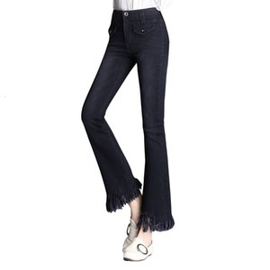 Wzjhz flare jeans de la taille haute de la taille des femmes coupées de jeans mode denim pantalon élastique pantalon noir bleu sexy mince taille haute