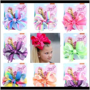 Jojo Siwa 3Dot5 Inches Grosgrain Ribbon Bows Girl Boutique Bows For Christmas Gifts Rainbow Gradient Children'S Headdress Rxcwh O5Uhg