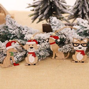 Christmas Ornament Wooden Hanging Pendants car dog Tree Bell xmas Decorations For Home OWF10434