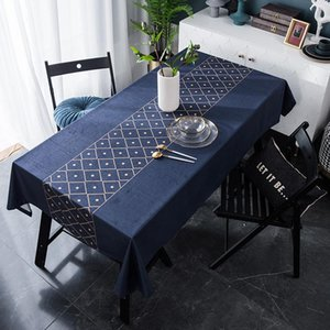 European Style Party Decoration Cotton Table Cloth Cover Suede Golden Geometry Tablecloth For The Manteles