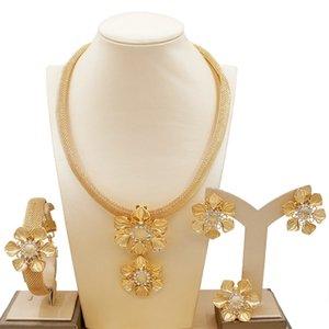 Novo Africano Dubai Ouro Nigeriano Cristal Flor Colar Brincos Anel Pulseira Italiana Acessórios De Casamento Jóias Conjuntos 383 Q2
