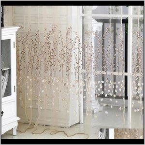 Floral Print Window For Living Room Tulle Door Drape Panel Sheer Scarf Valances 1M27M 1 Slk6Q Curtain Drapes Lmg8V