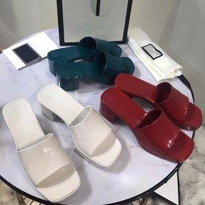 С коробкой дизайнер женские резиновые скольжения сандалии платформы мулов сандалии высокие каблуки тапочки каблуки коренастые желе нижние открытый пляж флип флорки вечеринки