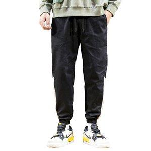 Мужчины дизайнерские свободные пробежки сплошные цветные дорожки падает повседневная брюки мода спортивные грузовые карманы брюки плюс размер
