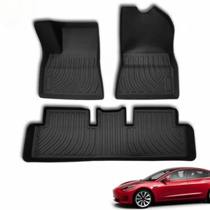 All-Tiempo Mats de piso 3D sin patines para Tesla Modelo Modelo 3 y Transclor completo Completo conjunto completo Almohadillas de piso a prueba de agua Caucho ecológico