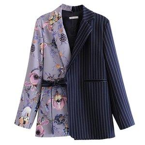 ربيع الخريف المرأة معطف نمط أزياء الشريط خياطة طباعة السترة معاطف d1 المرأة الدعاوى الحلل