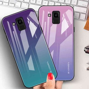 Luxury Phone Case For Galaxy J8 J6 J4 Plus 2018 Gradient Tempered Glass Cover Anti-knock Mobile Fundas