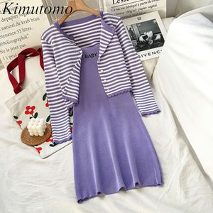 Kimutomo Sweet Girls Knitted Sets Spring Ladies O-neck Single Breasted Striped Short Cardigan and Letter Mini Dress Casual 210521