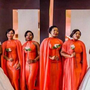 Платья подружки невесты африканских нож с накидкой осенью осенью осень апельсин уникальный дизайнер плюс размер свадьбы гостевые платья на заказ Dubai горничная честь платья