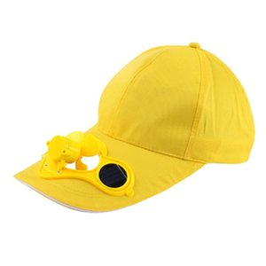 Sarı Güneş Enerjili Fan Yaz Spor Açık Şapka Kap Güneş Güç Soğutma Ile Bisiklet Tırmanma Küçük Klima Şapkalar