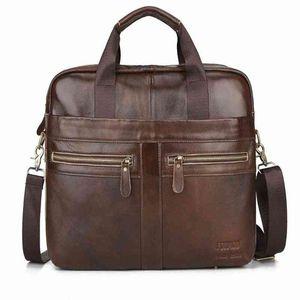 Genuine Leather Mens Briefcase Retro Business Computer Bag Fashion Casual Shoulder Messenger Bags Zipper Postman Handbags Y9Fu#