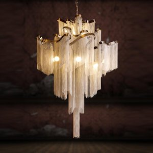 Подвесные светильники Современные роскошные огни El Hall Castle Stair цепь Обрабатывающаяся подвесная света дома столовая оформление