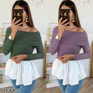 Womens Tops And Blouses Vintage Knitted Jumper Top Autumn Shirt Elegant Ladies Ruffles Tee Solid Casual Blouse Clothing Women's & Shirts