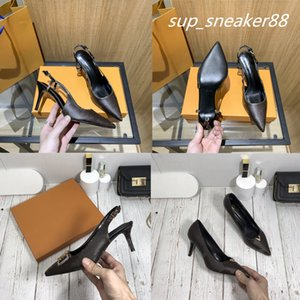 2021 designers women single shoes leather printed rear empty sandals side high heels luxury sexy shallow mouth pointed toe comfortable size 35-42 with box