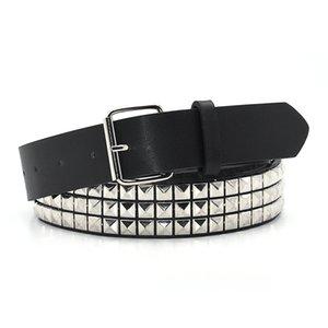 Gaoke Pyramid Fashion Rivet Belt Menwomen's Tachond Belt Punk Rock con hebilla de pin Drop Shipping Black 210322