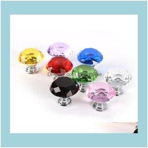 Handles Pulls Building Supplies Home & Garden2021 Diamond Crystal Glass Knobs Der Cabinet Handle Knob Screw Furniture Aessories 30Mm Door Ha