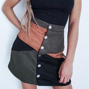 Skirts Winter Women High Waist Skirt Vintage Single-breasted Ladies A-line Clubwear Mini Streetwear