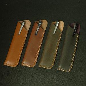 16x4.3 سنتيمتر أعلى درجة الأعمال التجارية عقد 2-الأقلام جلد طبيعي القلم حقيبة قلم رصاص القرطاسية المنظم للرجال النساء 1138 حقيبة