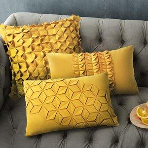 cilected 45 * 45 سنتيمتر / 50x30 سنتيمتر الإبداعية الزهور الصفراء الخصر وسادة غطاء ستيريو الطيات الزخرفية الكشكشة وسادة وسادة أريكة وسادة / ديكور