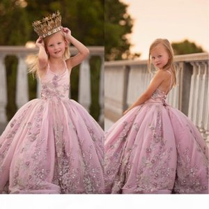 2021 Princess Spaghetti Strap Appliques Beaded Flower Girls Dresses Lace-up Back Pearls Long Ball Gown Girls Pageant Birthday Dress