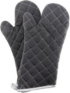 Кухонные инструменты Духовка Mitts Flame Retwordant Перчатки Теплостойкие до 425 ° F 15-дюймовый черный цвет 2-пакет
