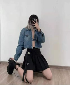 Women Jacket Denim Autumn Spring Style Slim Letters Belt For Lady Jackets Outwear Coat Windbreaker With Button Zippers Classical Clothing S-L