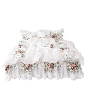 4pcs Korean Style Beige Princess Bedding Set Luxury Rose Printing Lace Quilt Cover Ruffles Bedspread Bed Sheet Cotton Queen King Size 487 R2