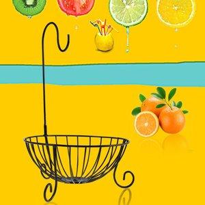 Storage Baskets Novelty Kitchen Metal Fruit Basket With Detachable Banana Hanger Holder Hook (Black)