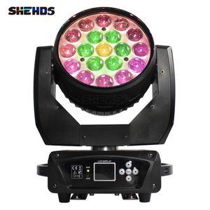 SHEHDS Stage Light Beam+Wash 19x15W RGBW Zoom Moving Head Lighting for Disco KTV Party DJ Equipment Rapid Transportation