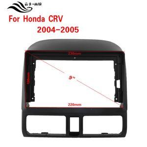 Black ABS trim fascia frame for 2005 Honda CRV refit 9 Inch car Android radio navigation DVD mounted dashboard
