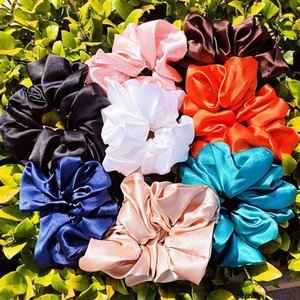 Women Elegant Large Solid Silk Soft Broadside Scrunchie Sweet Hair Bands Headband Rubber Band Fashion Hair Accessories