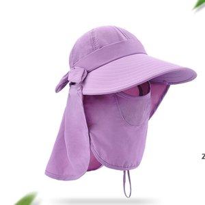 Sunshade Hat Foldable Caps 자외선 방지 와이드 레마 여름 속도 건조 UV 자외선 차단제 모자 원인 여행 캠핑 캡 Bowknot DHE5489